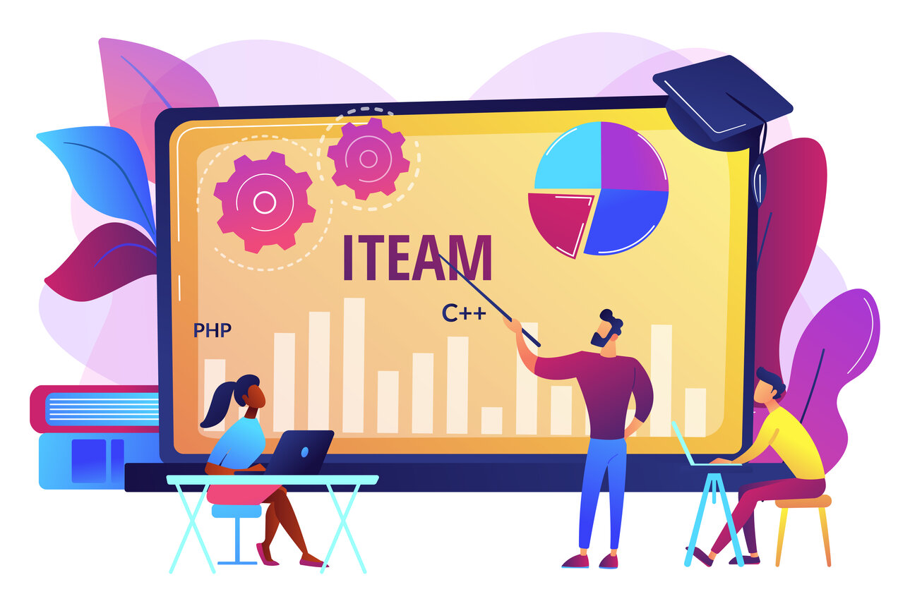 IT management courses concept vector illustration